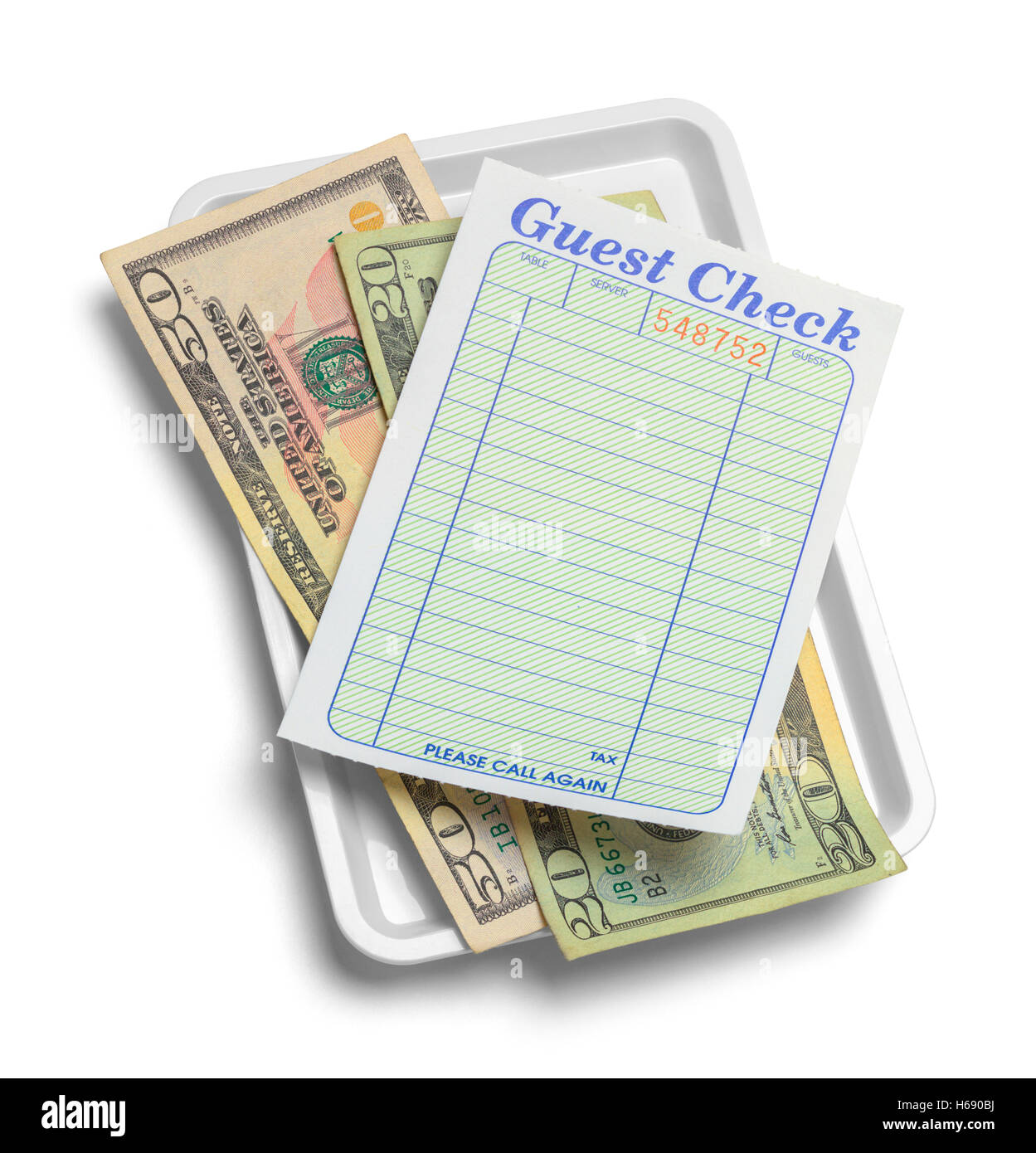 Receipt Tray with Money Isolated on White Background. - Stock Image
