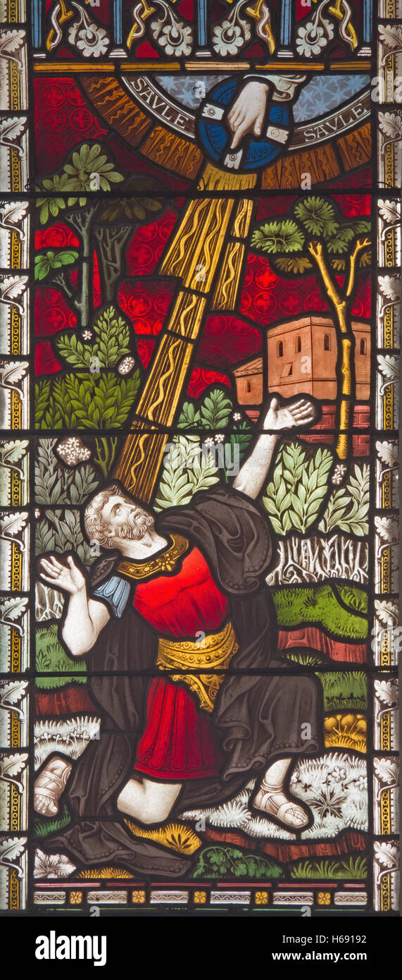 ROME, ITALY - MARCH 9. 2016: The Conversion of St. Paul on the stained glass of All Saints' Anglican Church - Stock Image