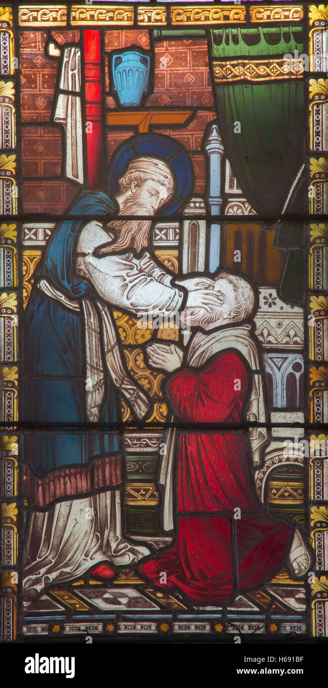 ROME, ITALY - MARCH 9. 2016: The Ananias restoring sight to Saul on the stained glass of All Saints' Anglican - Stock Image