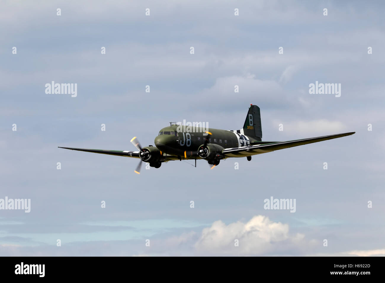 Former USAAF Douglas C-47A Skytrain (Dakota) WW2 transport aircraft at Kemble Air Day 2011, Gloucestershire, United Stock Photo