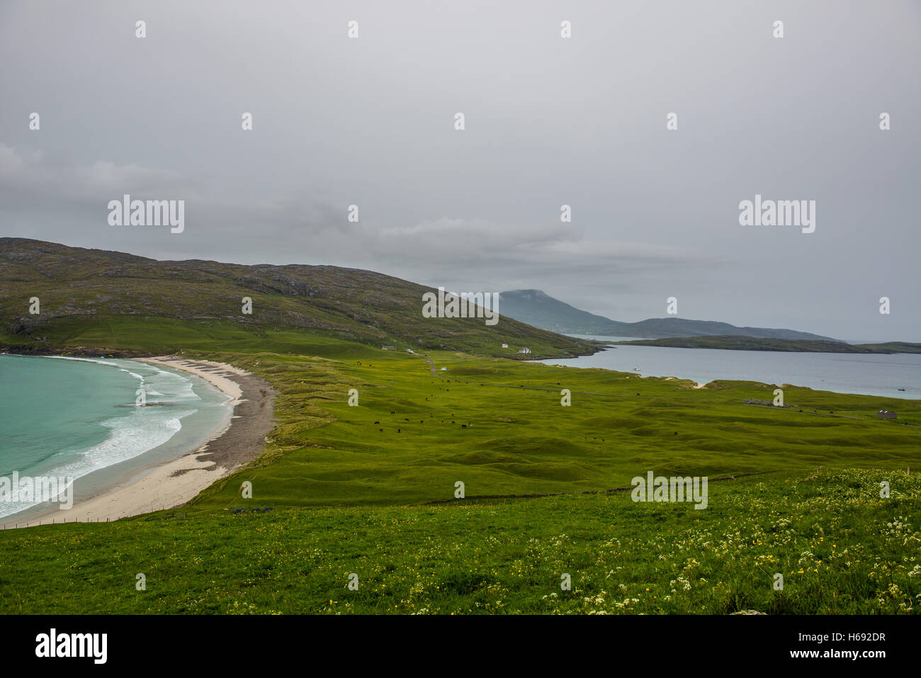 A beach on the island of Vatersay in the Outer Hebradies, Scotland. - Stock Image
