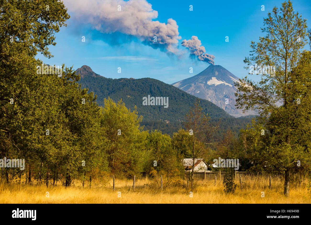 Villarrica volcano in the Araucania Distrit, Patagonia, Chile. Volcan Villarrica, Araucania. Mapuches land. - Stock Image