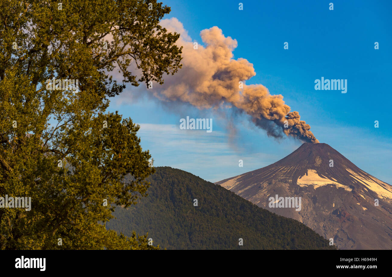 Villarrica volcano in the Araucania Distrit, Patagonia, Chile. Volcan Villarrica, Araucania. Mapuches land - Stock Image