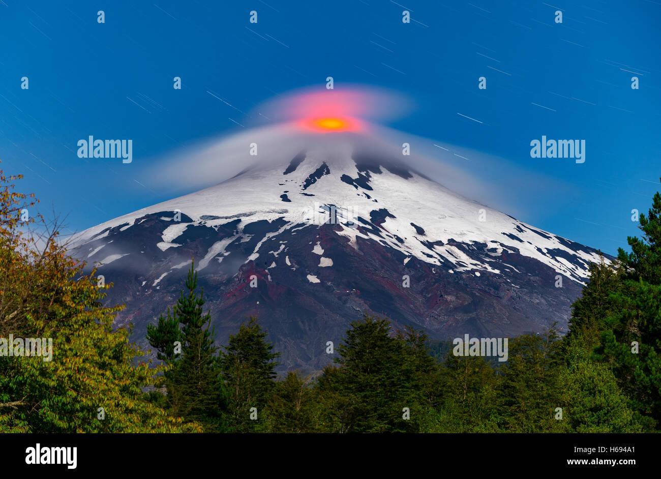 Villarrica volcano in the Araucania Distrit, Patagonia, Chile. Volcan Villarrica, Araucania. Mapuches land - Stock Image