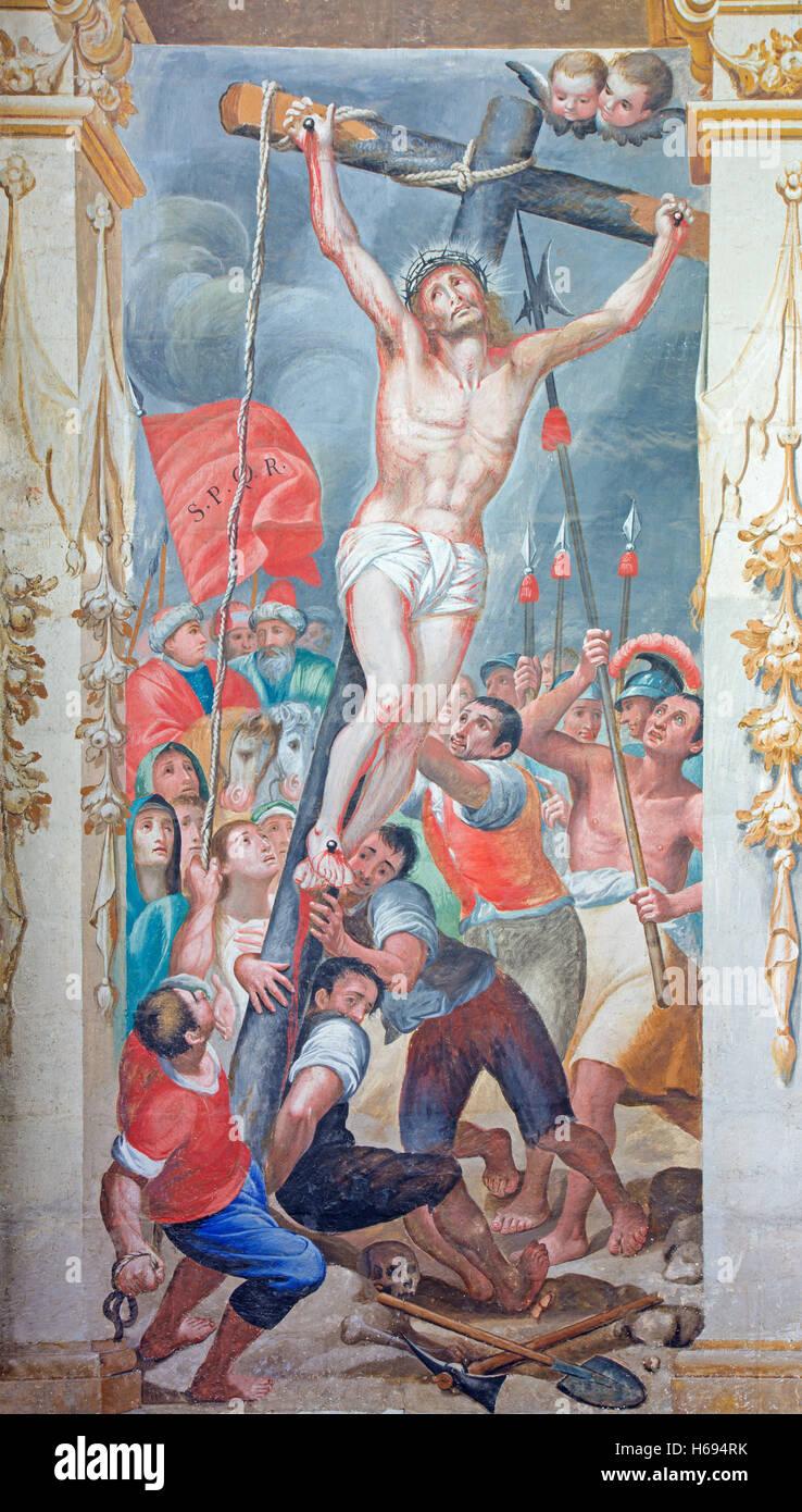 SALAMANCA, SPAIN, APRIL - 16, 2016: The Elevation of the cross fresco in church of Convento de San Esteban by Antonio - Stock Image