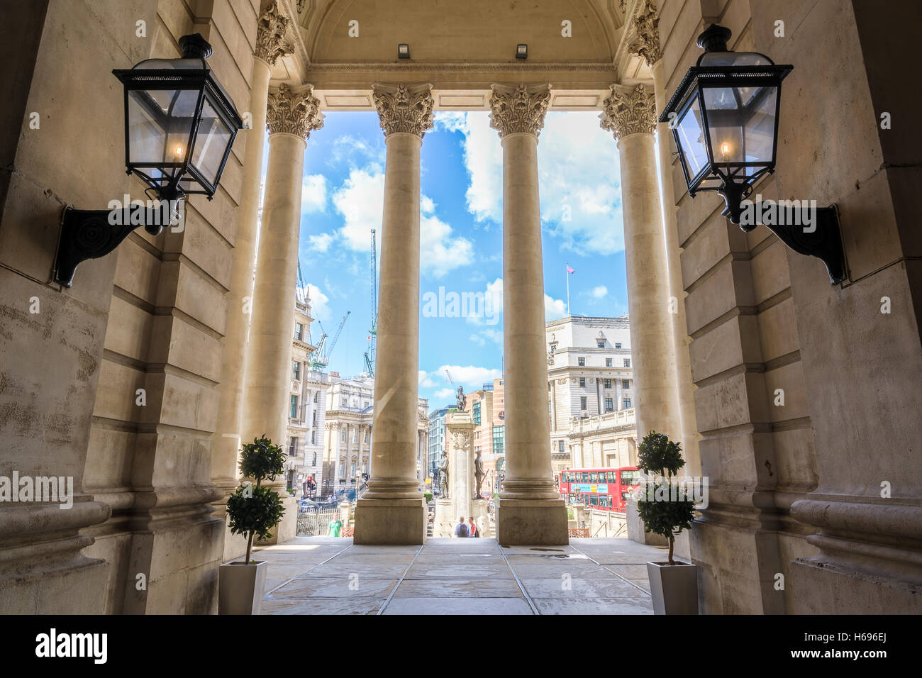 London, UK - August 06, 2016 - Bank junction viewed from Royal Exchange - Stock Image