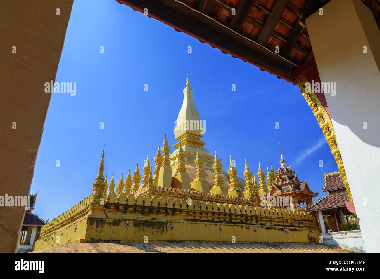 Pha That Luang Vientiane Landmarks of Vientiane, Laos - Stock Image
