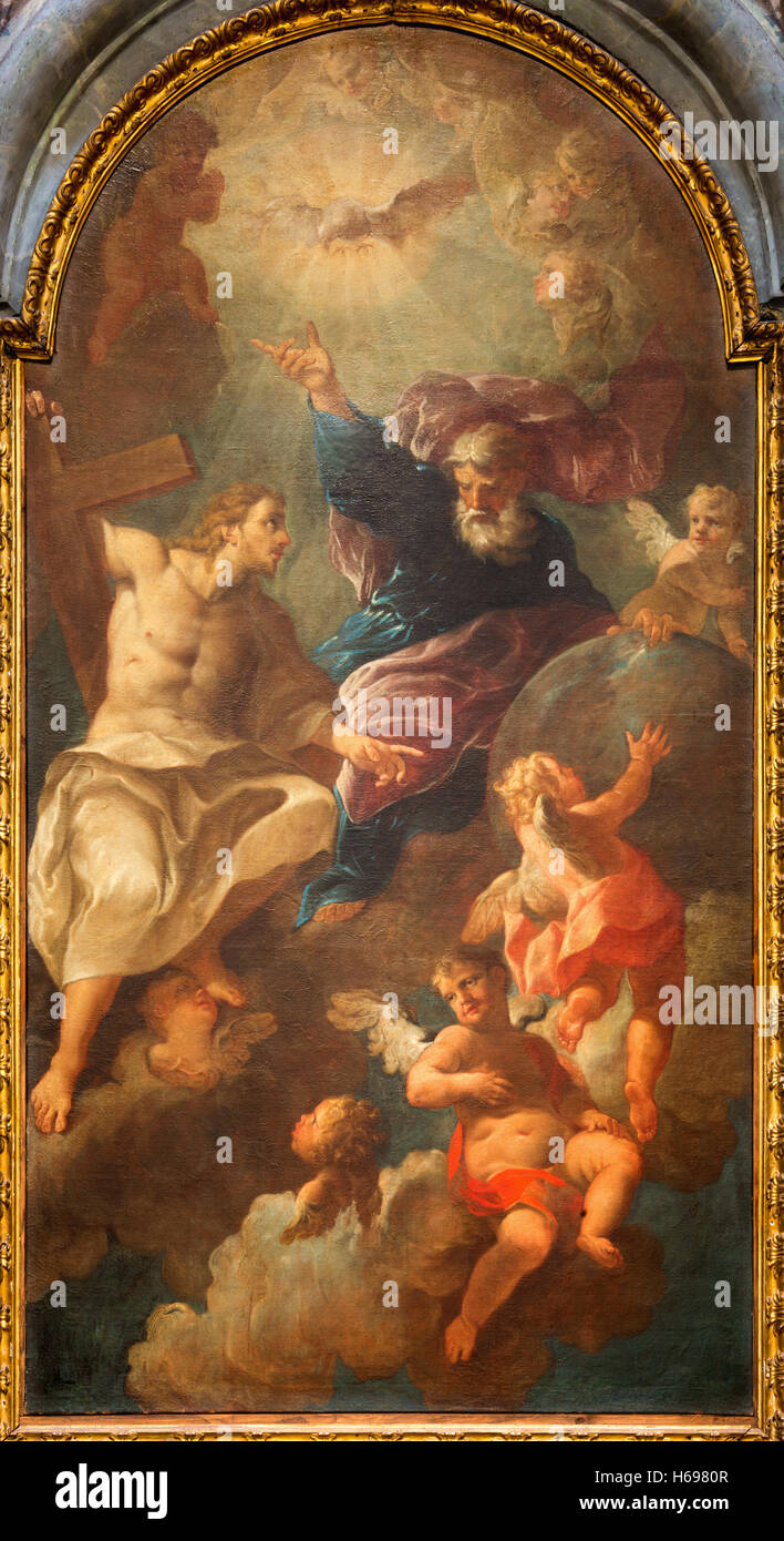 BRESCIA, ITALY - MAY 22, 2016: The painting of Holy Trinity in church in church Chiesa di San Francesco d'Assisi - Stock Image