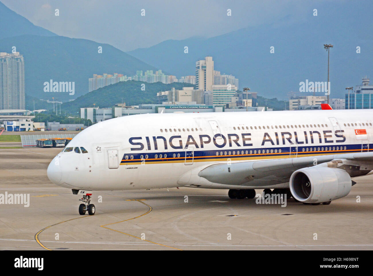 Airbus A 380 Hong Kong international airport - Stock Image