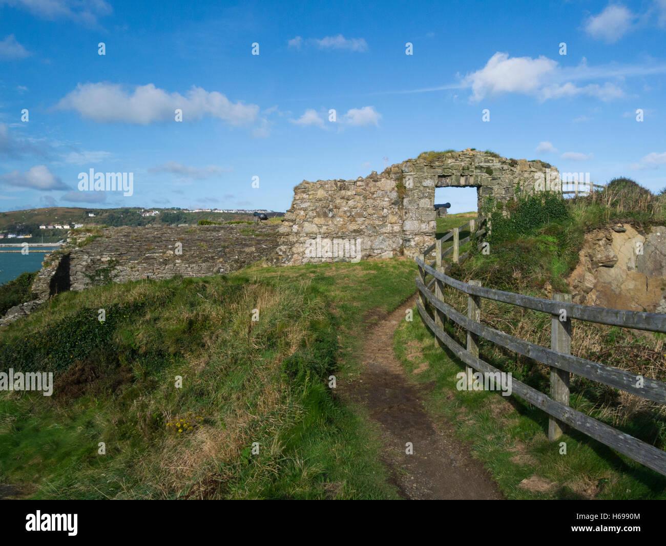 Fishguard Fort ruins built 1781 to guard prosperous port Pembrokeshire South Wales UK on Pembrokeshire Coastal Path - Stock Image