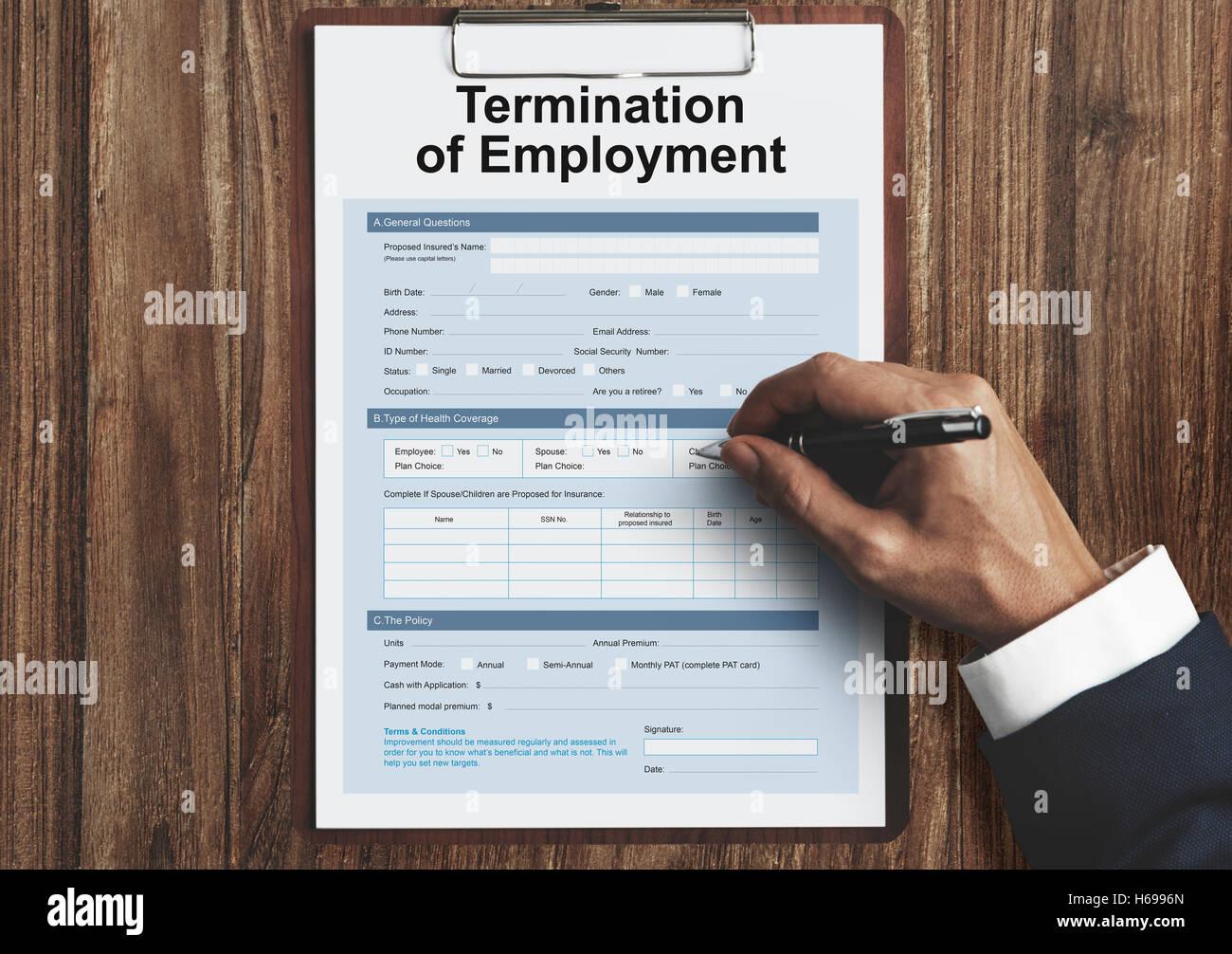 Termination Employment Job Form Concept Stock Photo Alamy