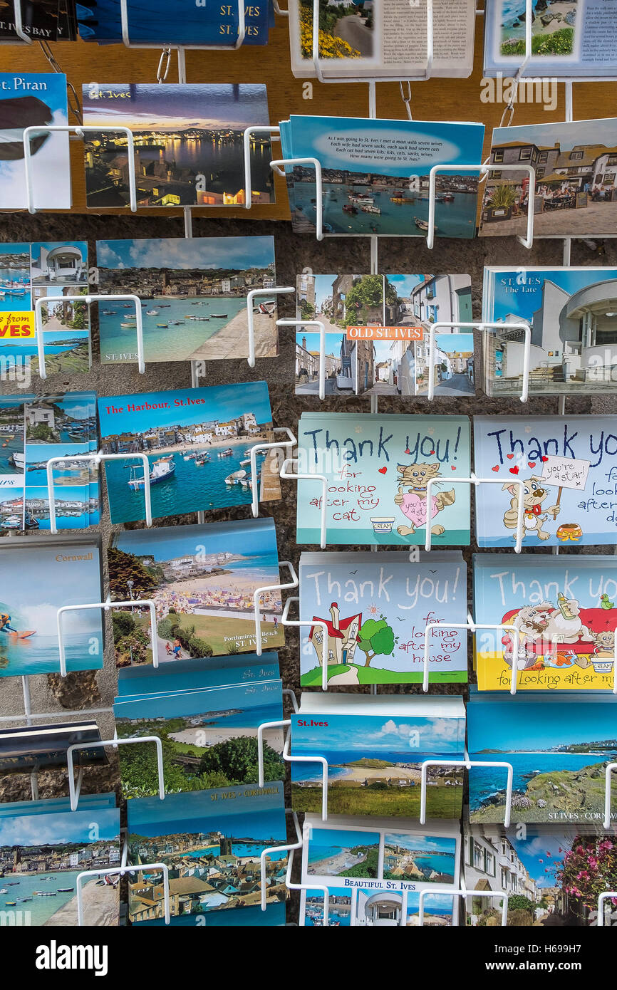 Holiday postcards on display. - Stock Image