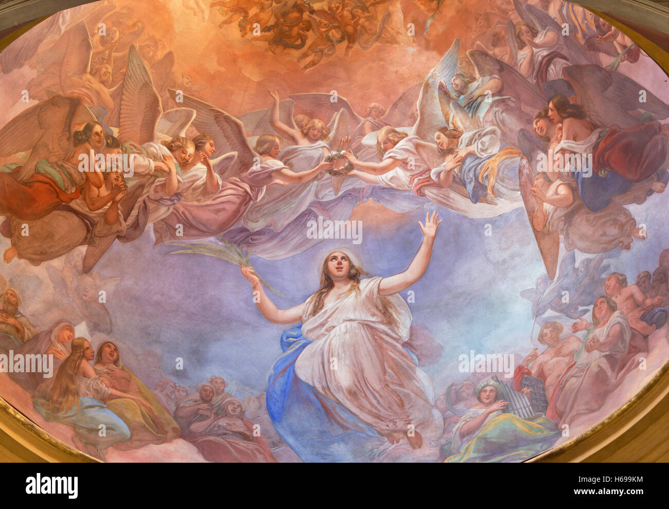 CREMONA, ITALY - MAY 24, 2016: The Apotheosis of St. Agata fresco on the cupola in church Chiesa di Santa Agata - Stock Image