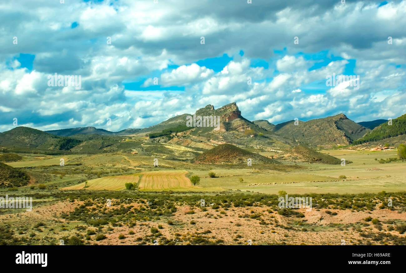 spanish highland landscapes are varied and scenic but sometimes with the sparse vegetation - Stock Image