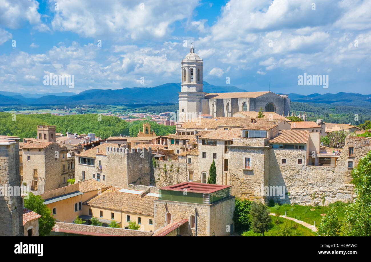 the saint mary's cathedral is one of the most famous landmarks in girona, spain - Stock Image