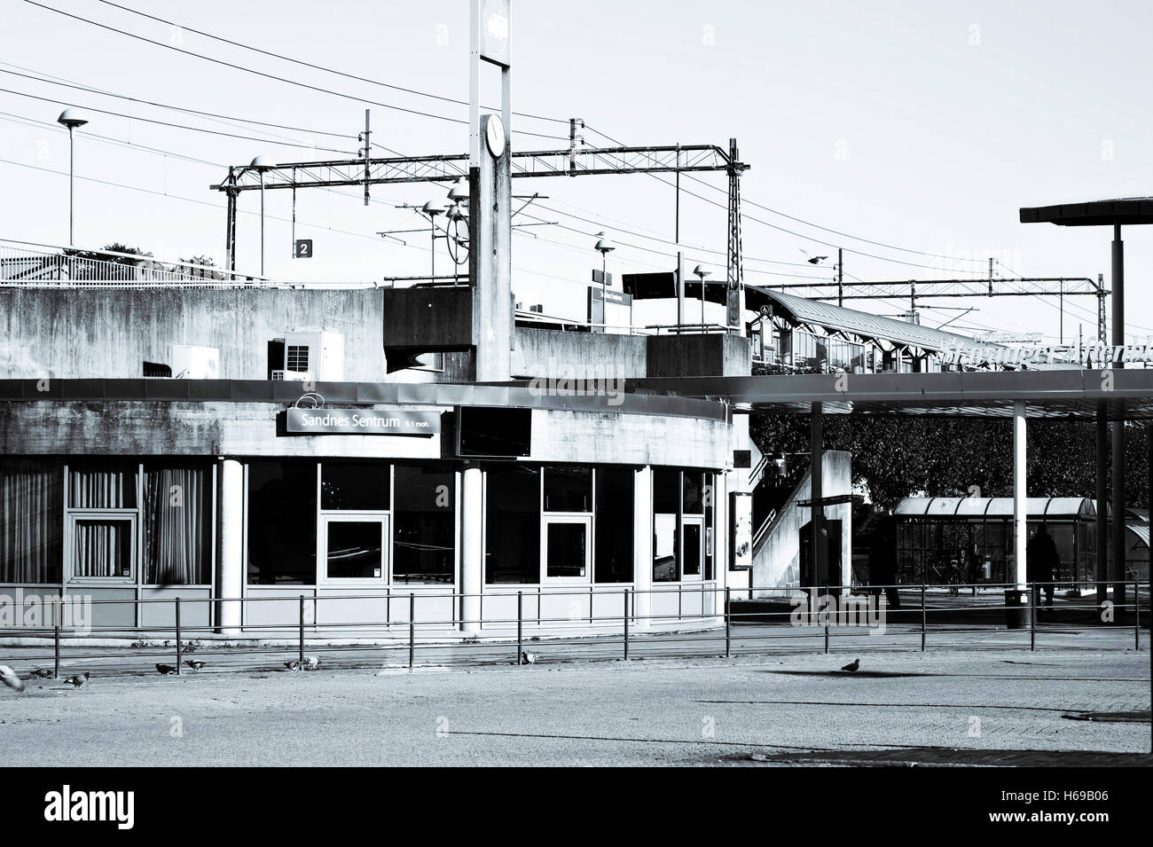 Sandnes Central Bus or Coach Station With the Railway Station Behind - Stock Image