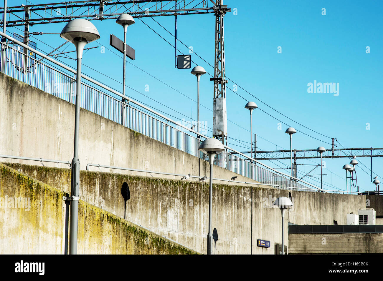Concrete Access Ramp to Sandnes Norway Railway Station With Street Lighting Stock Photo