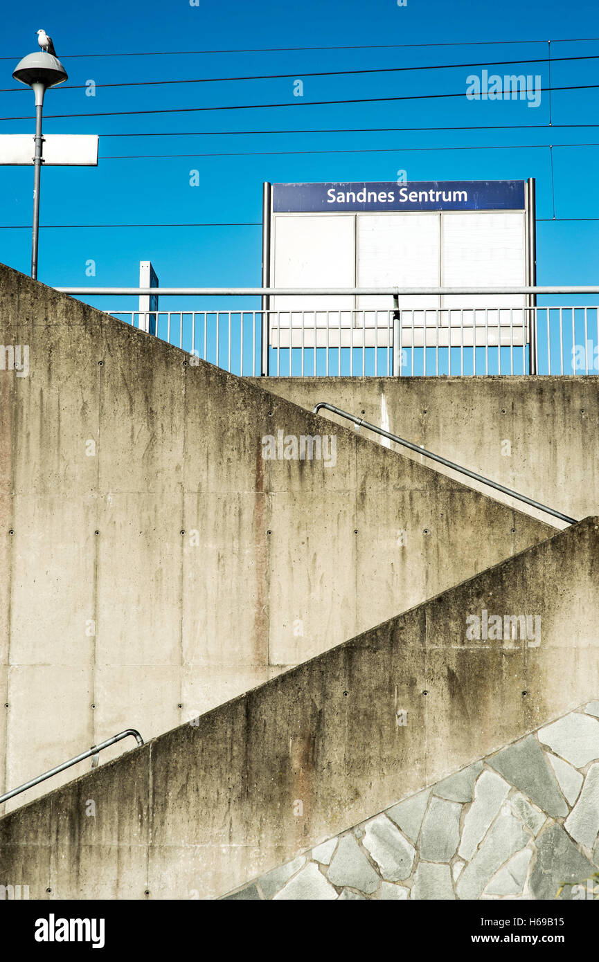 Concrete Access Stairway To Sandnes Railway Station Against a Clear Blue Sky Stock Photo