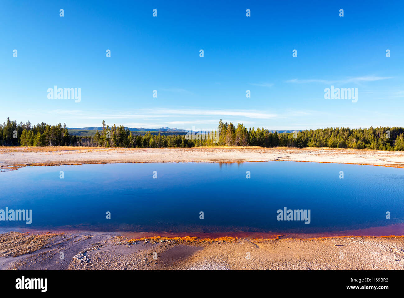 Grand Prismatic Spring landscape view in Yellowstone National Park - Stock Image