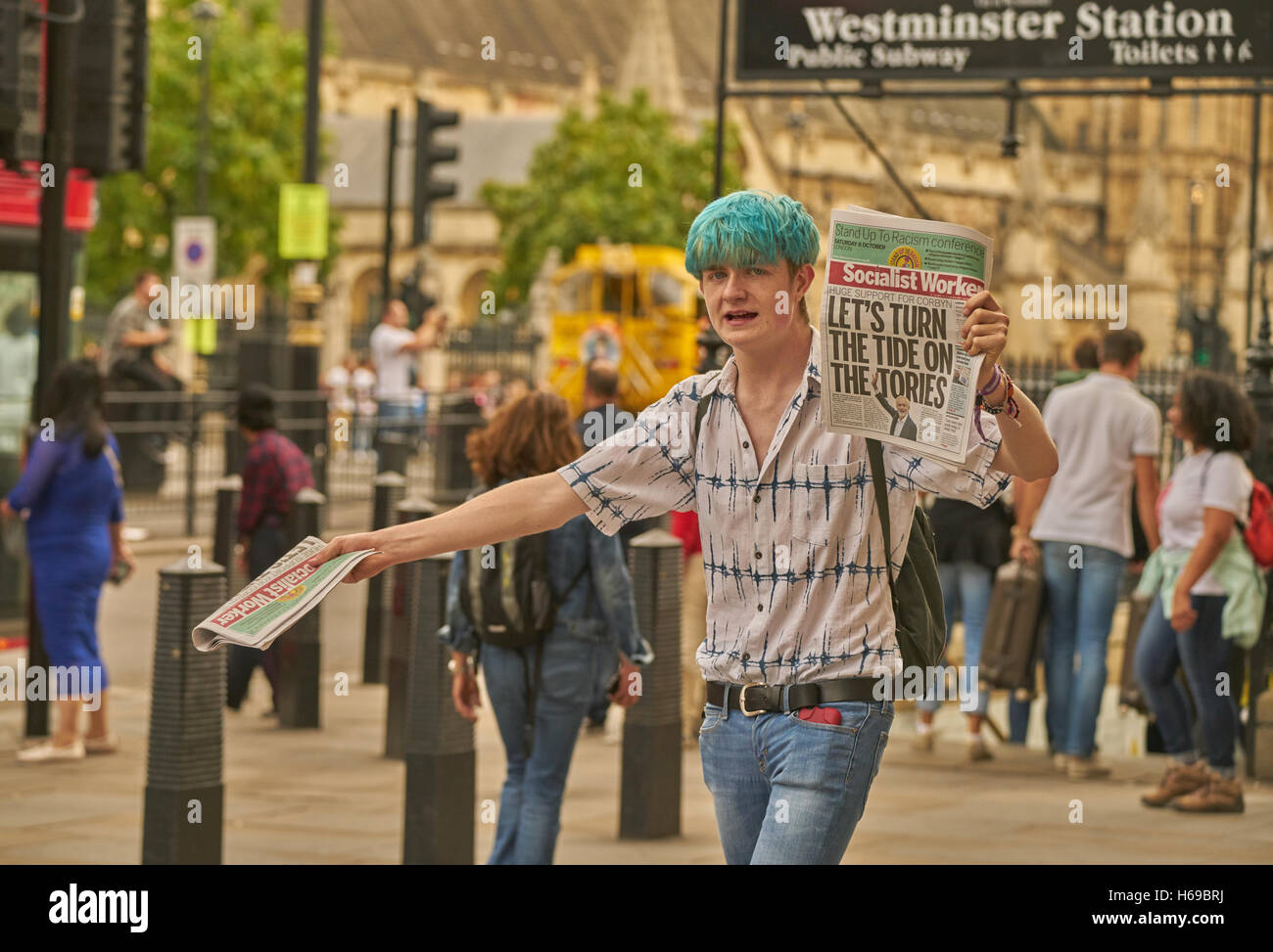 socialist worker seller.  Young socialist.   Political youth.  left wing activist. - Stock Image