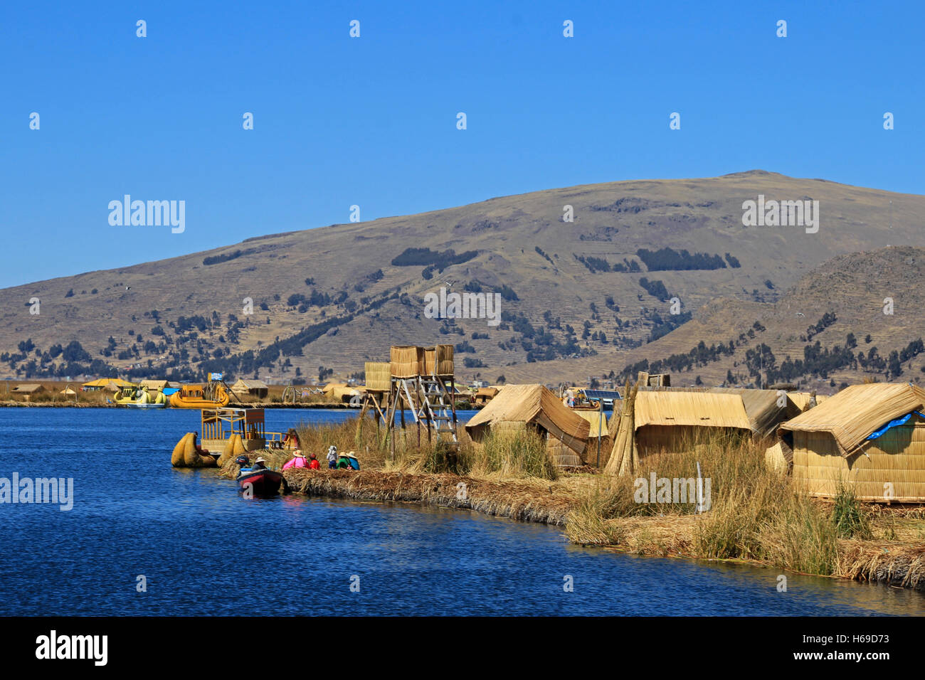 Totora reed floating islands Uros, lake Titicaca, Peru Stock Photo