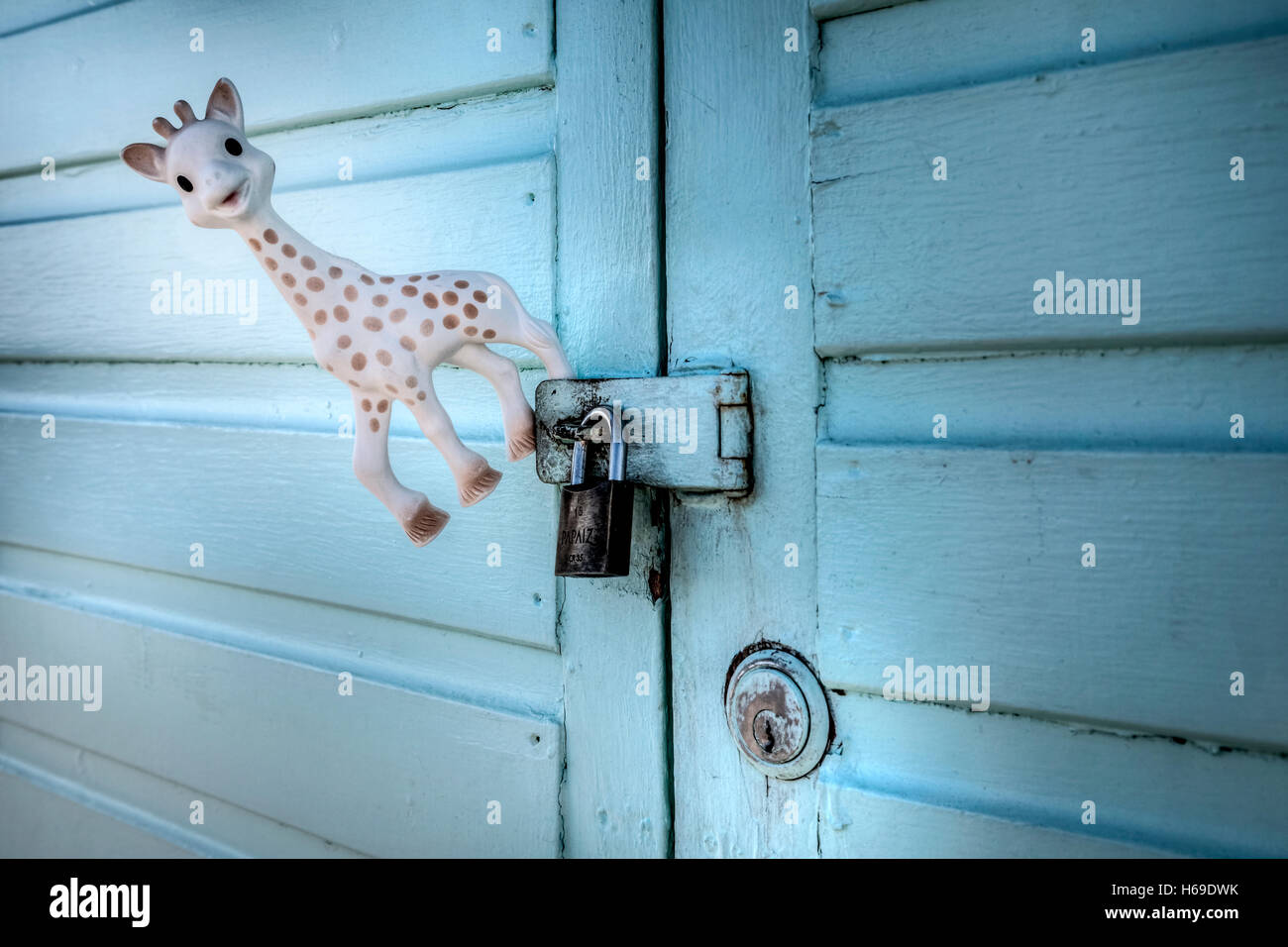a toy giraffe hanging on a pad locked door - Stock Image