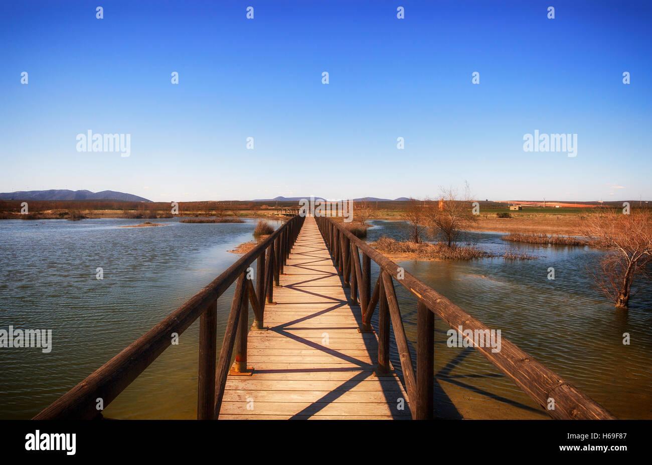 Walkway over lagoon Laguna de Fuente de Piedra Malaga Province