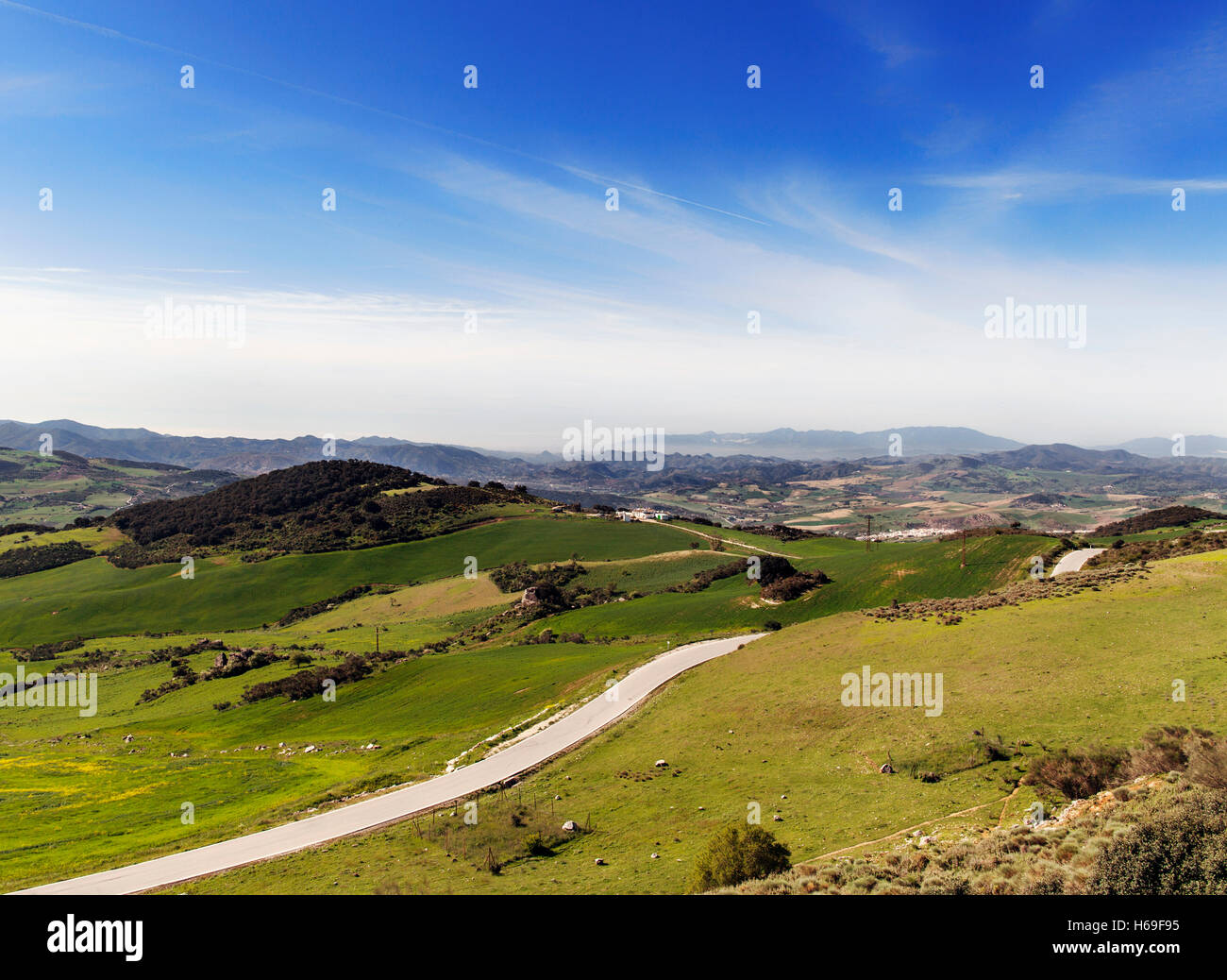 Road below the Torcal de Antequera National Park, Malaga Province, Andalucia, Spain - Stock Image