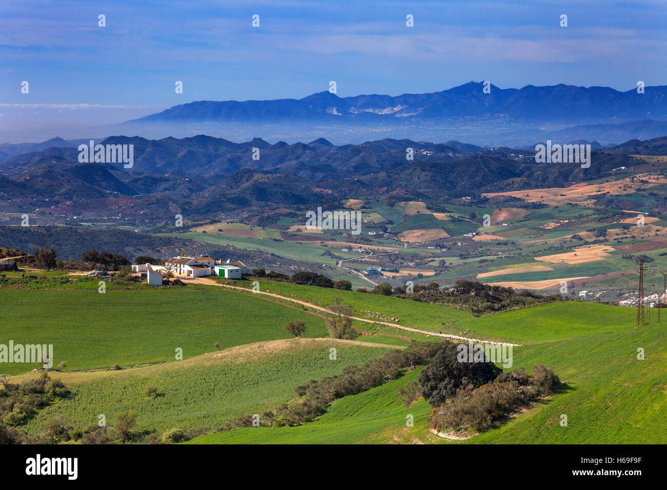 Landscape from Torcal de Antequera National Park, Malaga Province, Andalucia, Spain - Stock Image