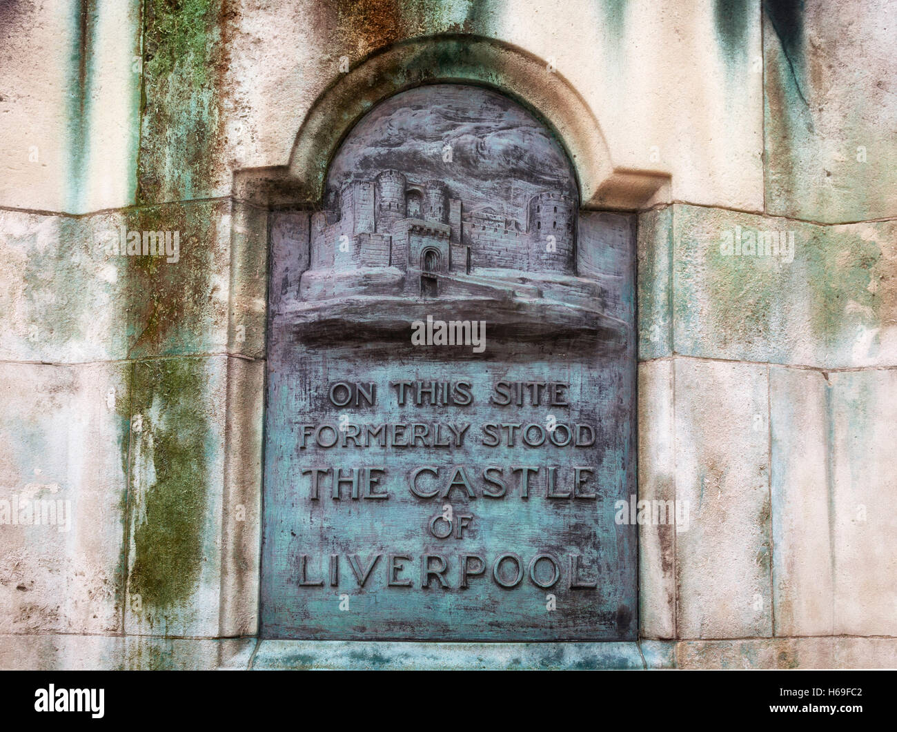 Plaque to the 13th century Castle of Liverpool and demolished in the 18th century, Where the Victoria Monument stands, - Stock Image