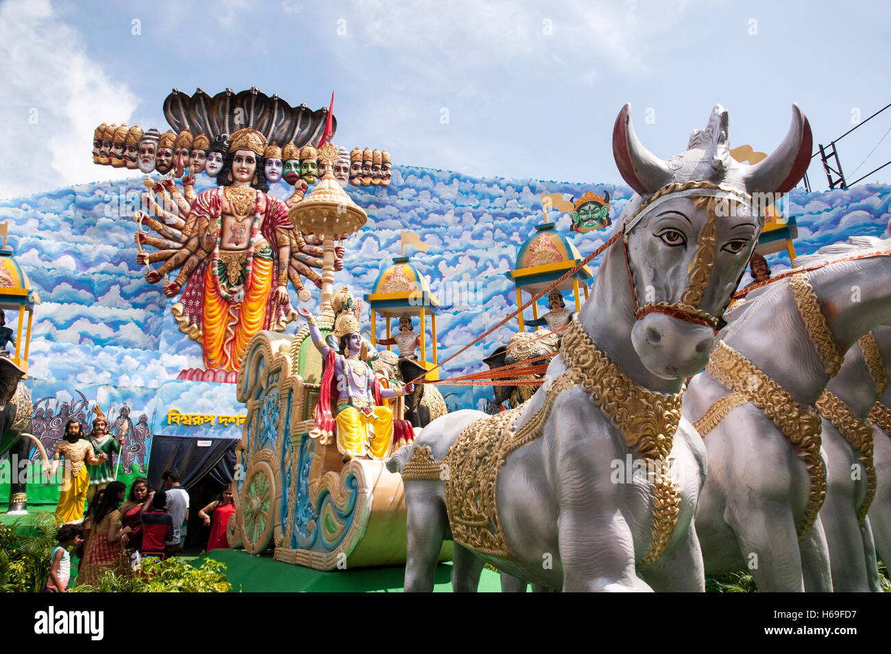 Puja pandal stock photos puja pandal stock images alamy idol of krishnas universal form at nagar bazaar durga puja pandal kolkata west bengal india altavistaventures Choice Image