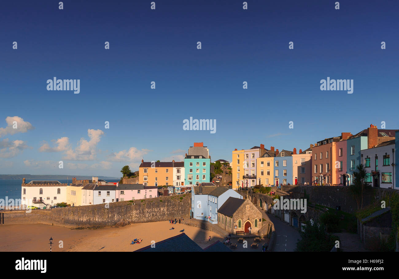 The Harbour and surrounding terraced houses in Tenby on the western side of Carmarthen Bay, Pembrokeshire, West - Stock Image