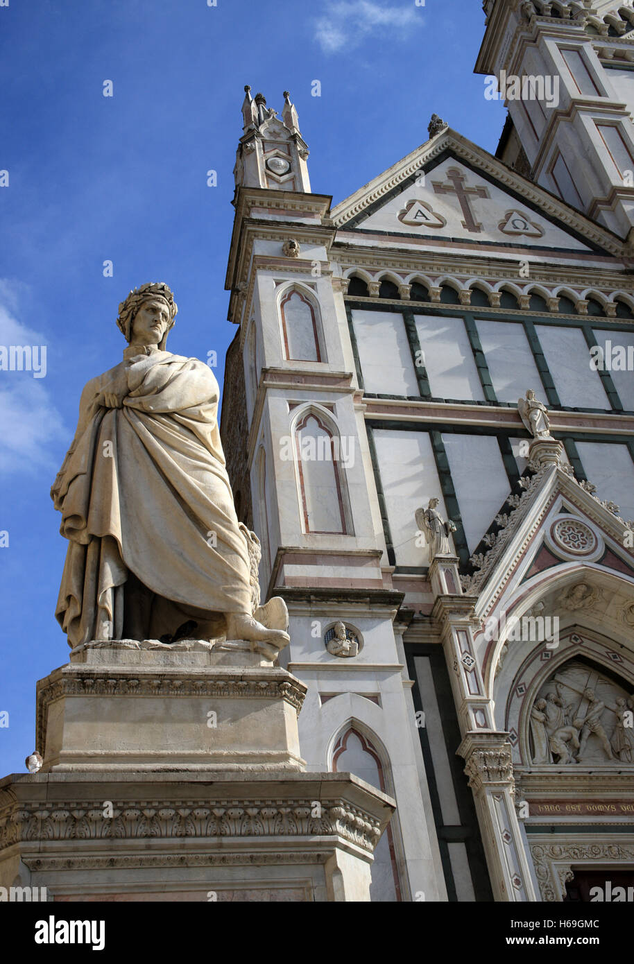 The statue of Dante Alighieri Florence Tuscany Italy - Stock Image