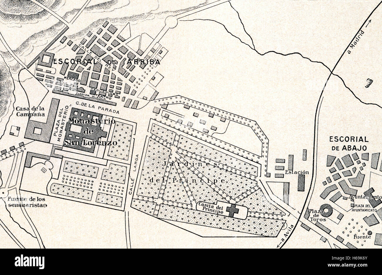 A plan of The Royal Site of San Lorenzo de El Escorial, Madrid, Spain, commonly known as El Escorial. Stock Photo