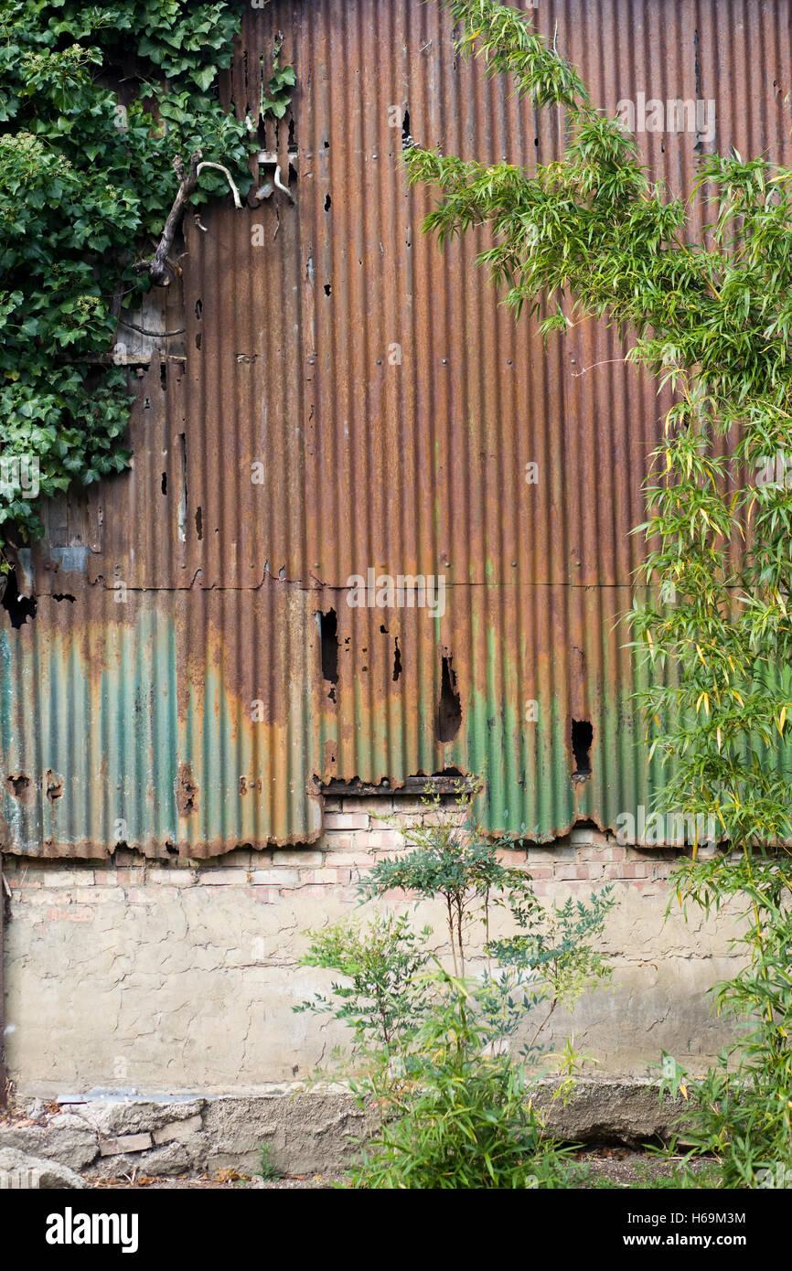Old rotting Corrugated galvanized iron building - Stock Image