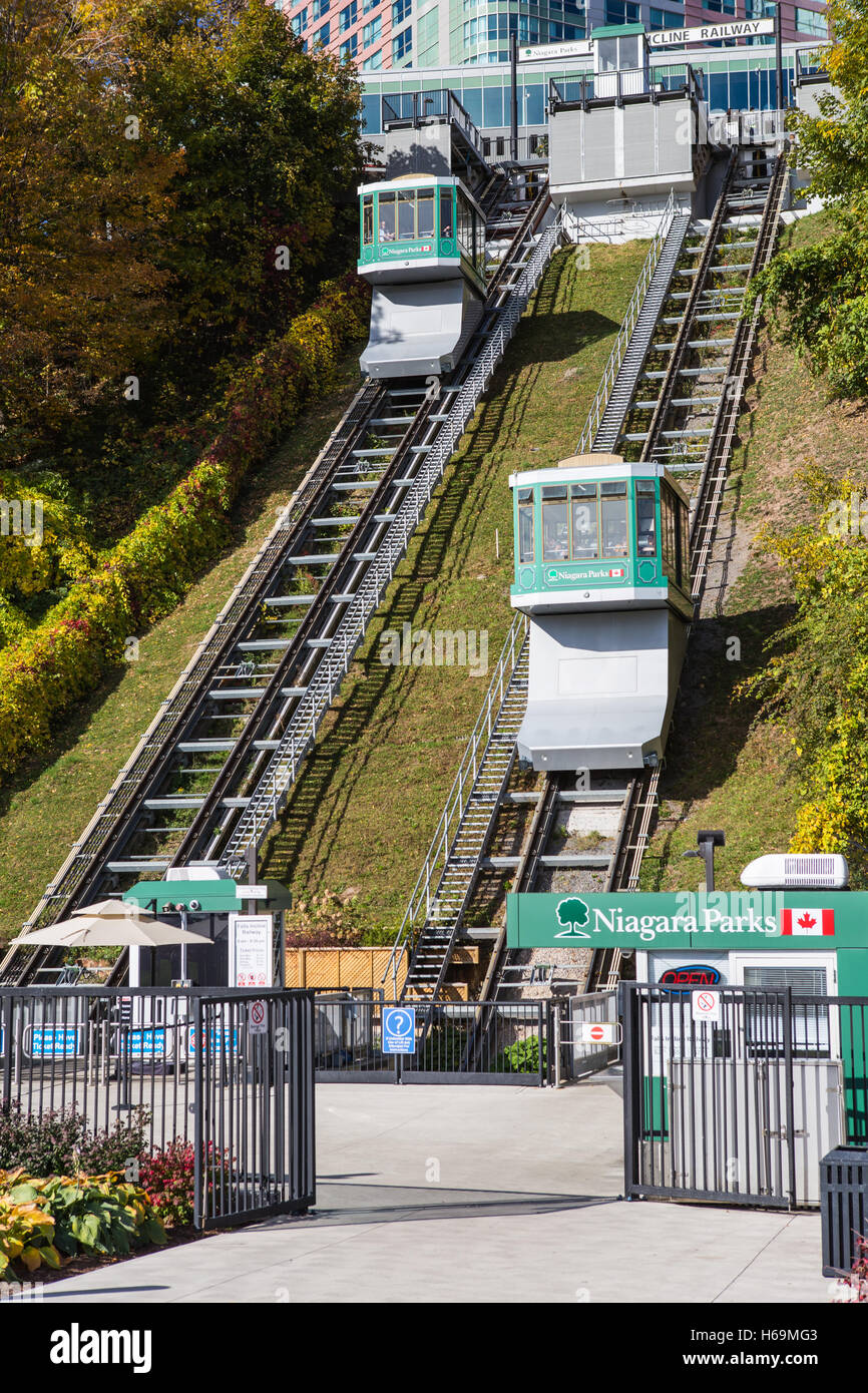 The Falls Incline Railway runs between Falls Incline Plaza at Table Rock and the Fallsview Tourist Area in Niagara - Stock Image