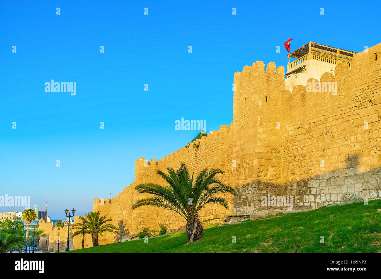 Sousse has one of the biggest Medinas in Tunisia, almost all of it is surrounded by medieval rampart, Tunisia. - Stock Image