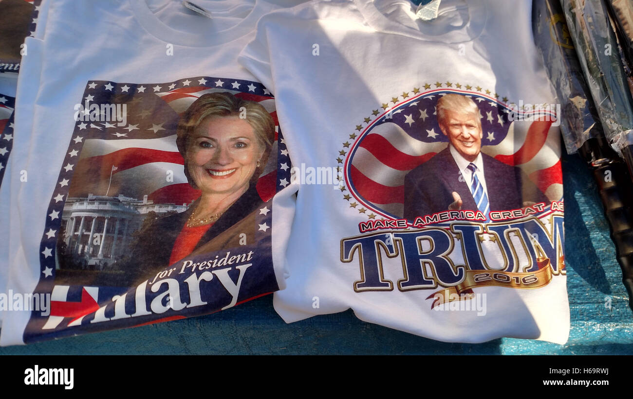 T-shirts bear likenesses of Hillary Clinton and Donald Trump at street vendor's stand in Washington, DC. - Stock Image