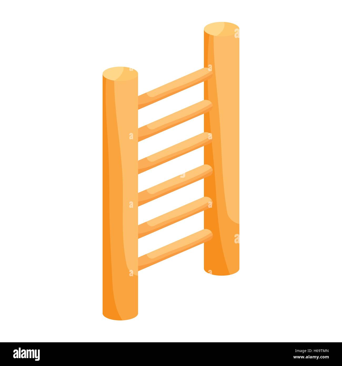 Wooden vertical ladder icon, cartoon style - Stock Image