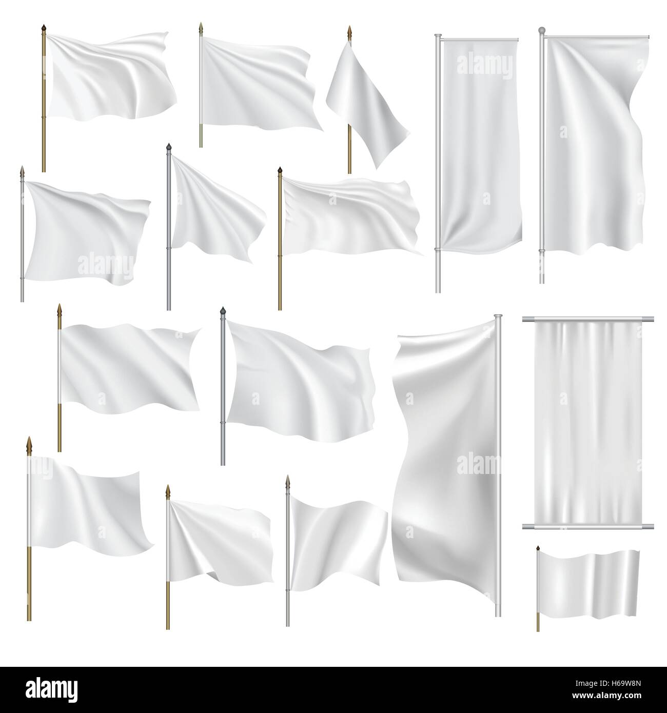 Flags and banners set - Stock Vector