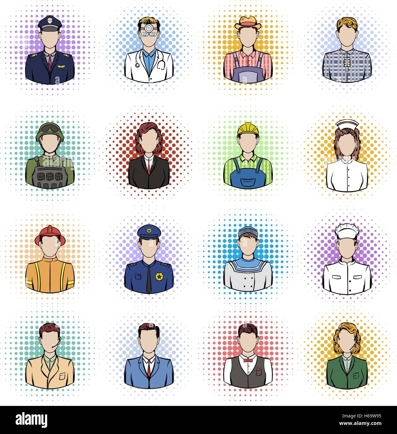 Profession comics icons set - Stock Vector