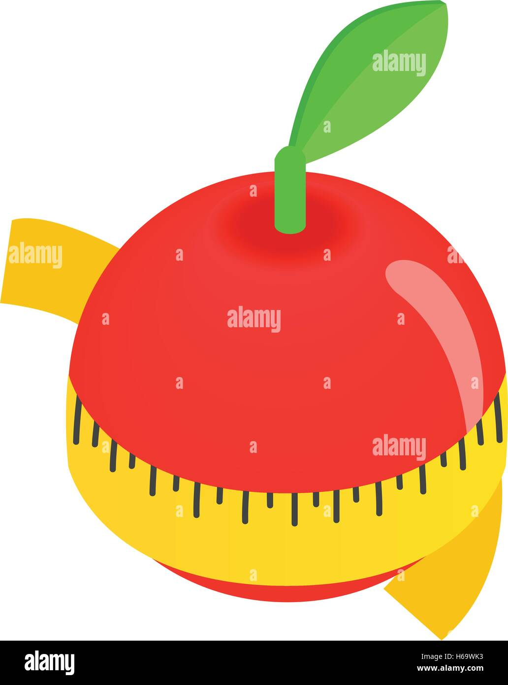 Red apple centimeter isometric 3d icon - Stock Image