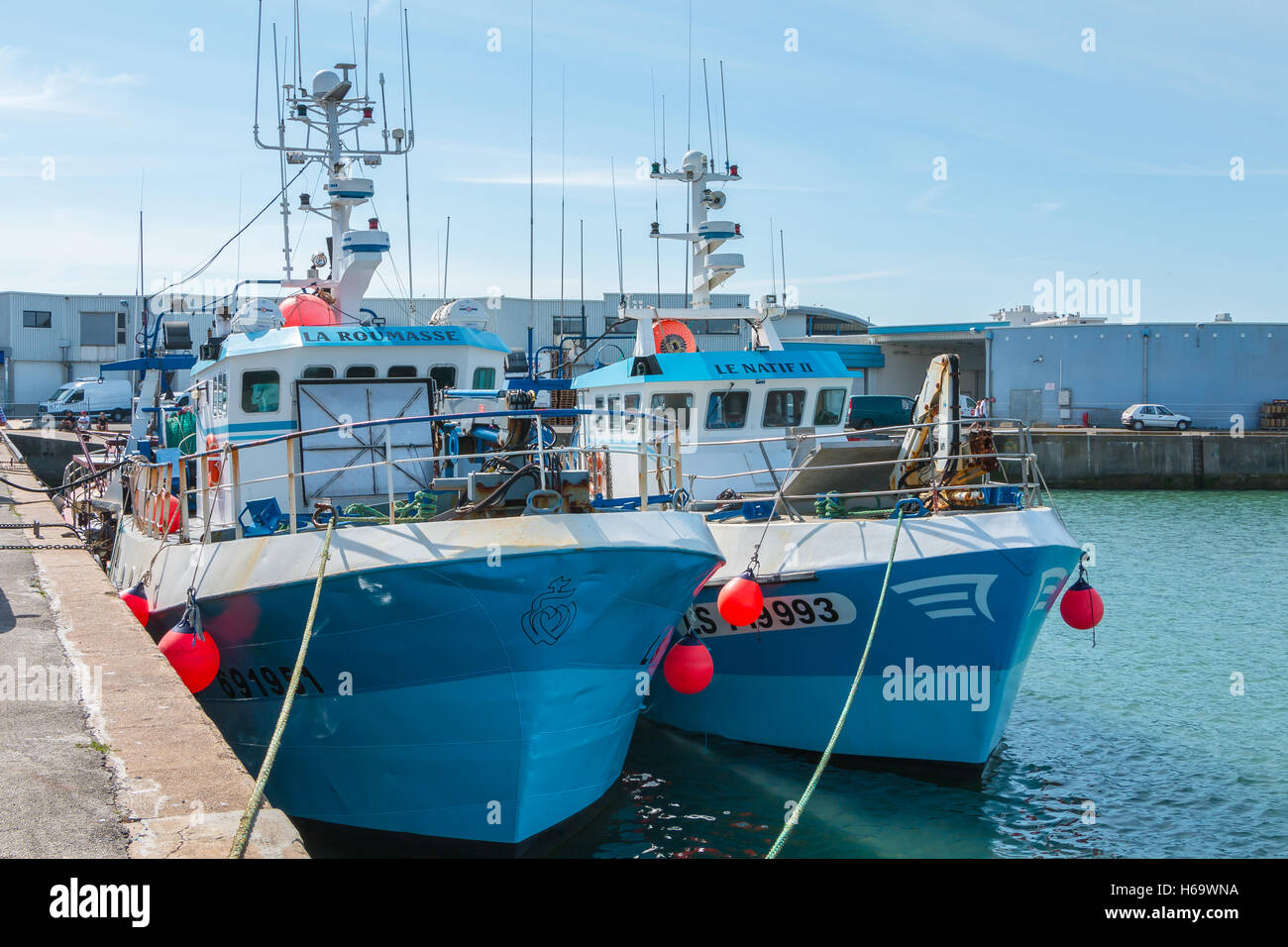 Saint Gilles Croix de Vie, France - July 27, 2016 : trawlers are returned to port after fishing off - Stock Image