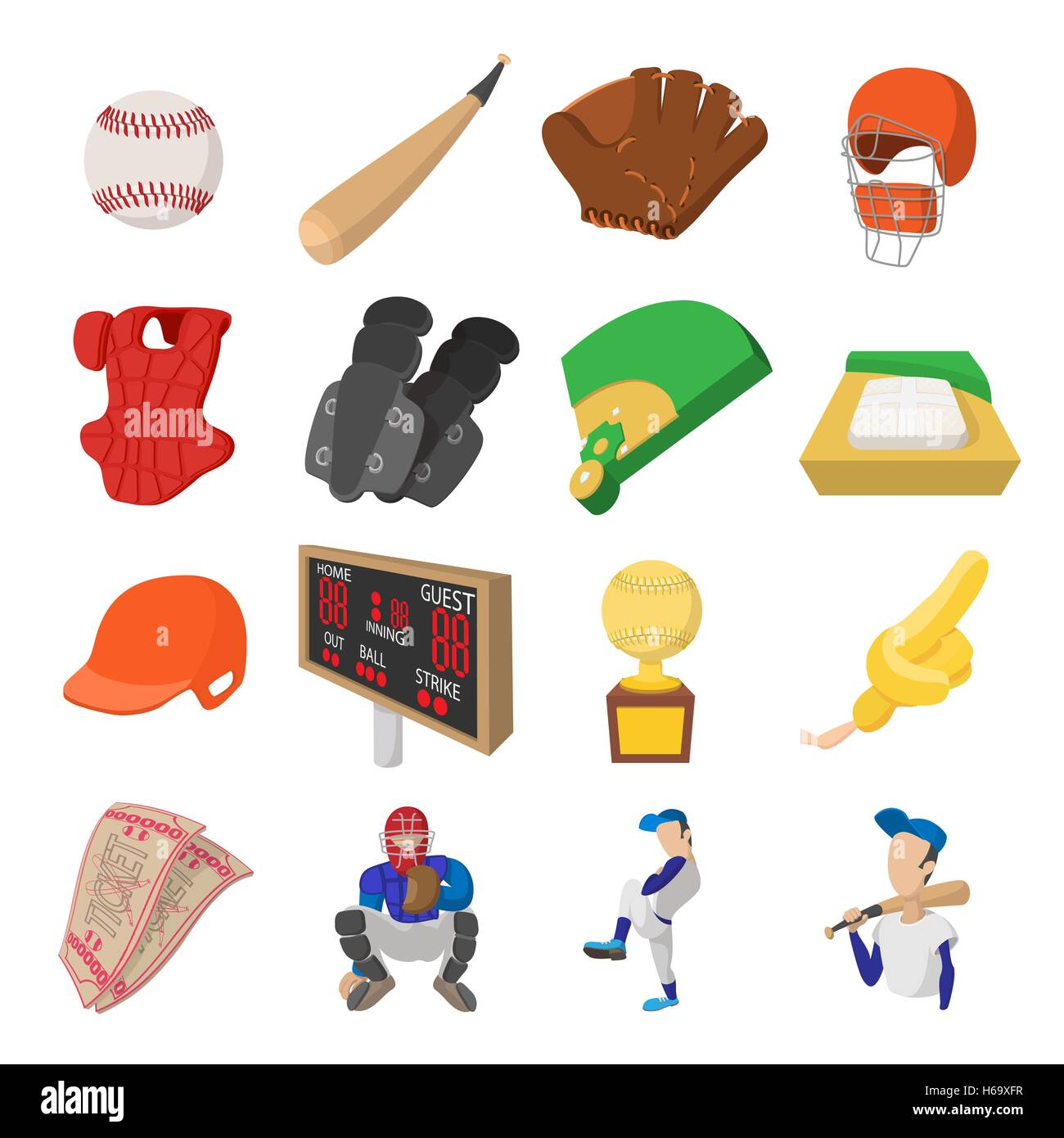 American football cartoon icons - Stock Image