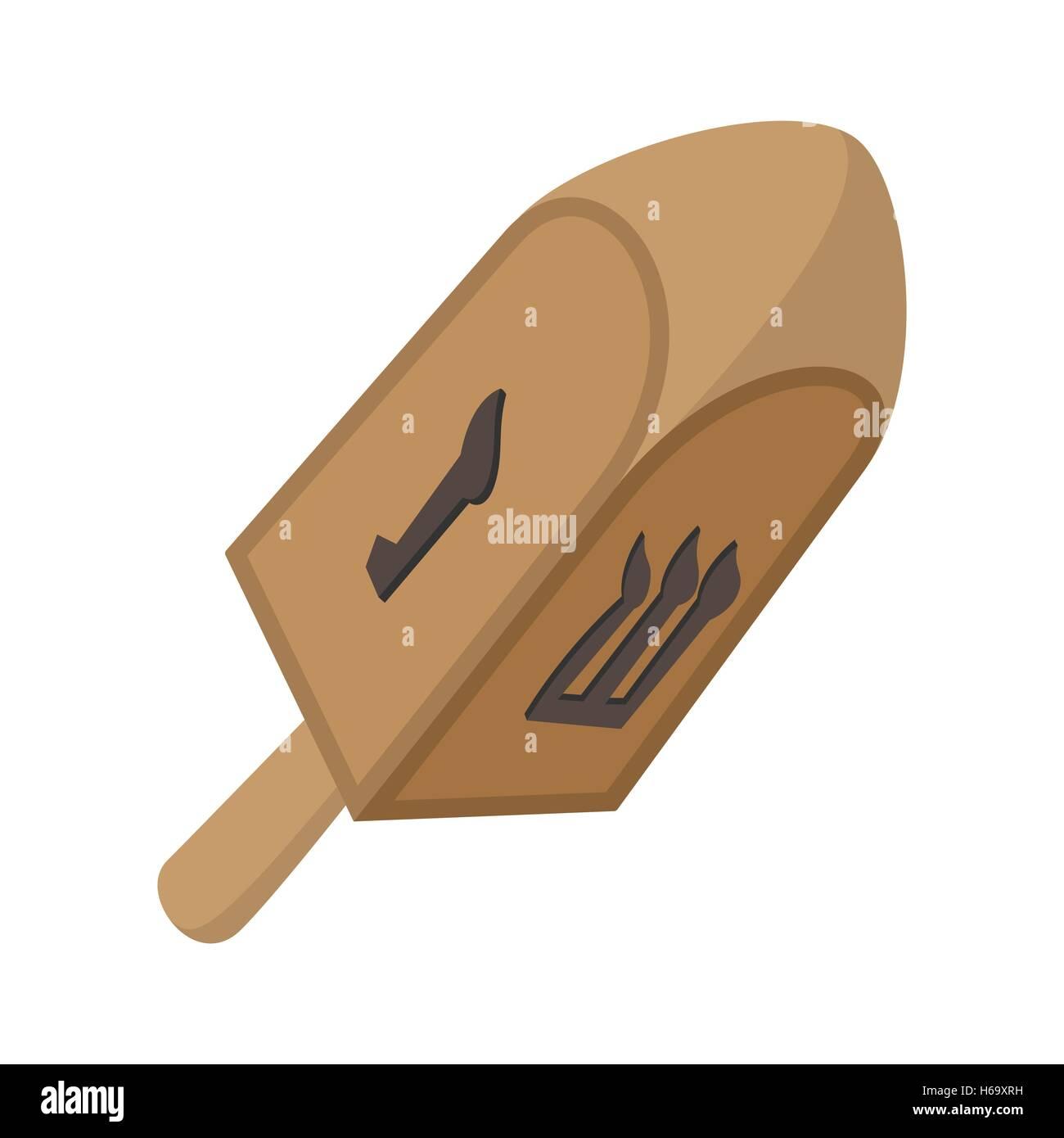 A wooden dreidel cartoon icon - Stock Image