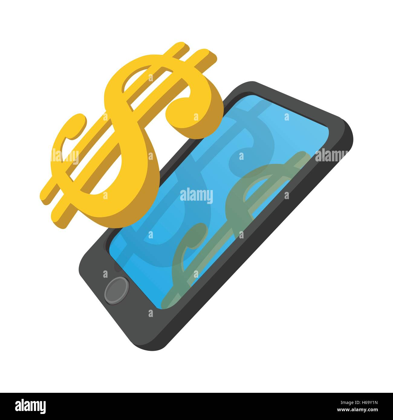 Smartphone with dollar on a display cartoon icon - Stock Vector