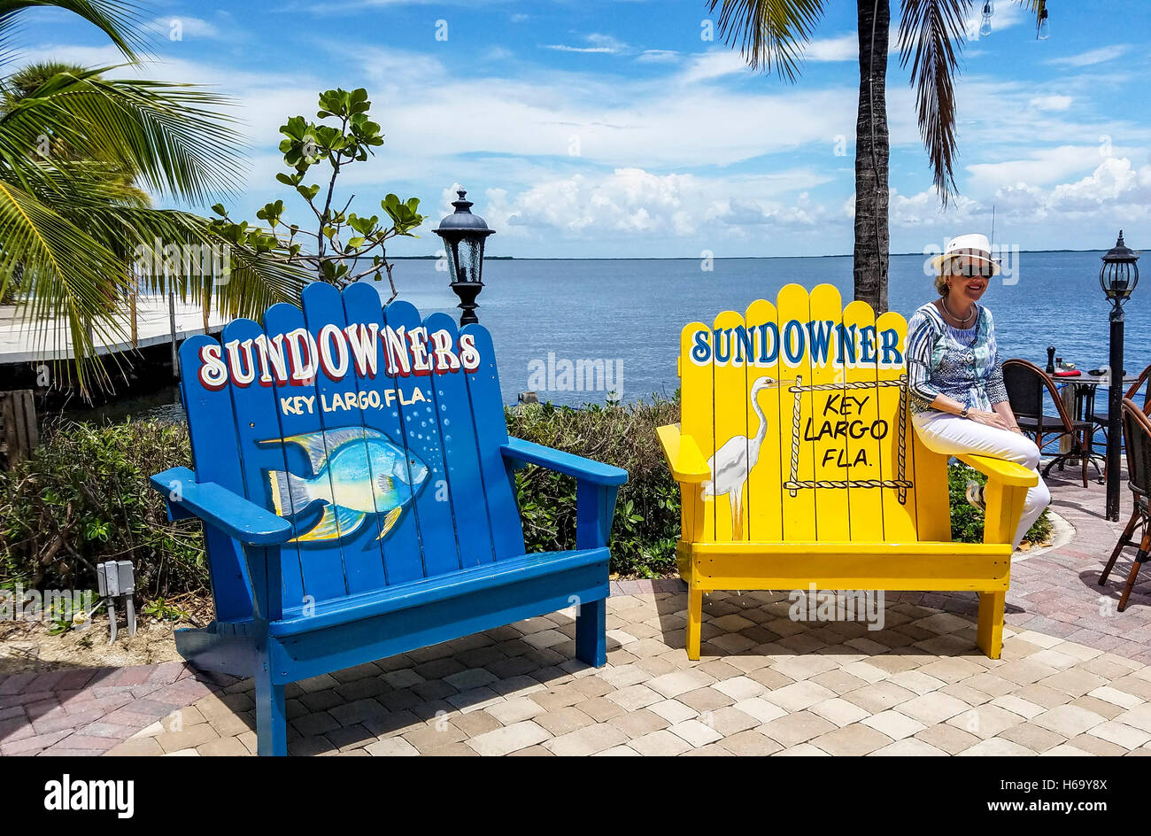 Superbe Cool Beach Chairs On The Deck Of Sundowners, A Popular Fish Restaurant On  Key Largo In The Florida Keys.