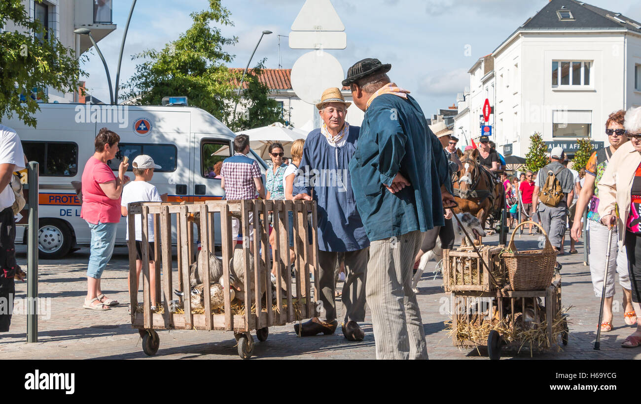 Challans, France - August 11, 2016 : event Once Challans 'Autrefois Challans' organized by the city and - Stock Image