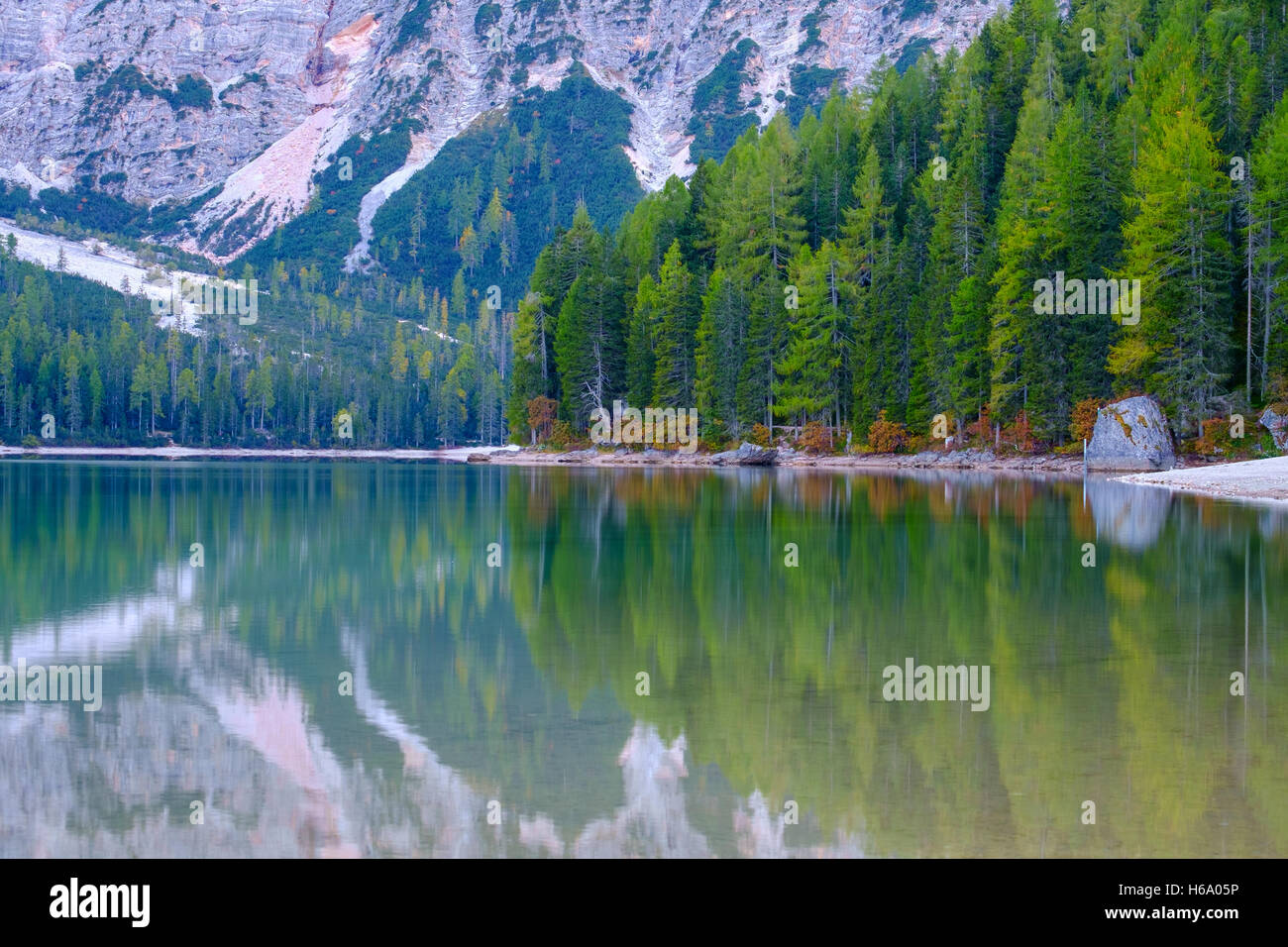 Braies Lake ( Pragser Wildsee ) in Dolomites mountains, Sudtirol, Italy - Stock Image