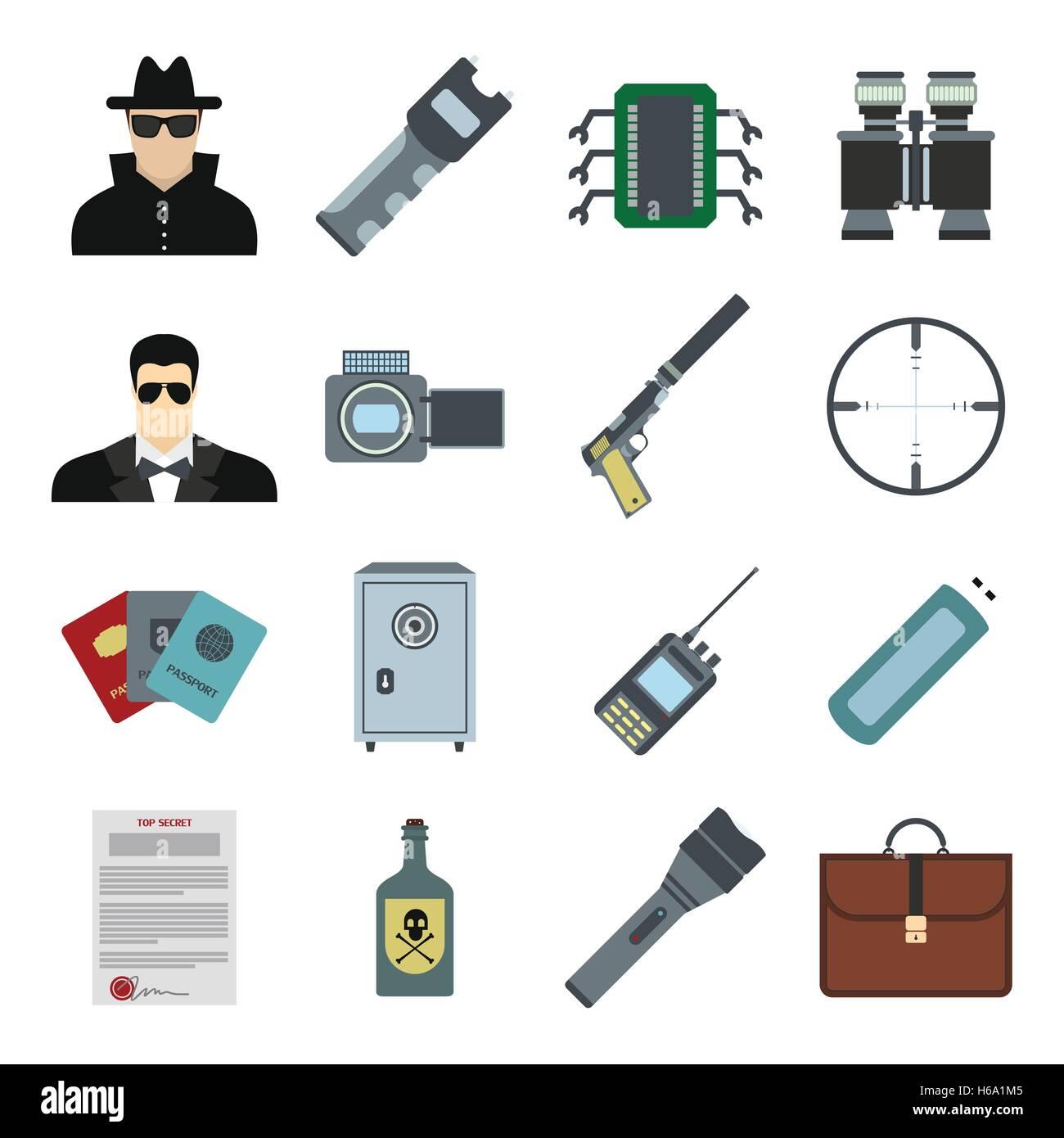 Spy flat icons - Stock Image